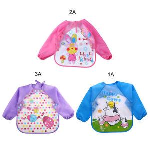 1PC Baby Kids Cartoon Waterproof Clothes Long Sleeve Bibs Apron Feeding Smock