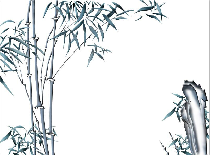 3D Bamboo Tree painting ink wallpaper Decal Dercor Home Kid Nursery Mural  Home