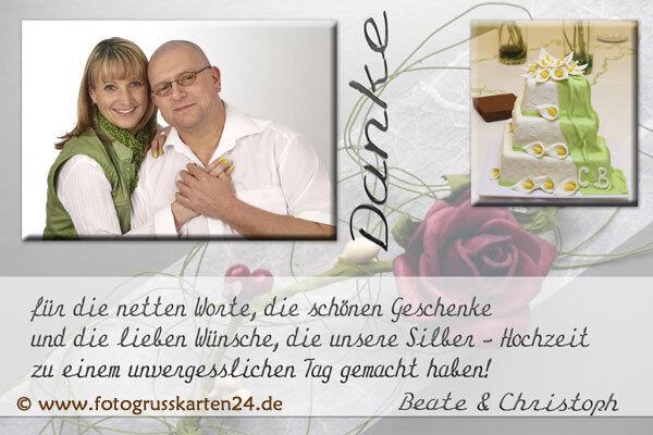 Dankeskarten silberne Hochzeit Danksagungen Silberhochzeit 10 x Foto  KuGrüns   | Bekannt für seine schöne Qualität  | Perfekt In Verarbeitung