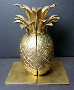 "Brass Pineapple Bookends - MCM - 9"" Tall - India - SpongeBob SquarePants House"