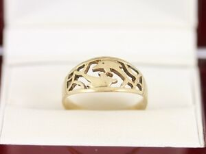 Dolphin-Ring-9ct-Gold-Ladies-Stunning-Size-P-375-2-1g-AZ31