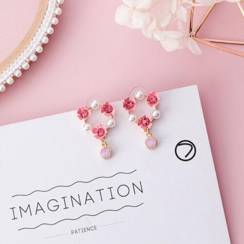 Accessories Rhinestone  Pink Fabric Flower Dangle Earrings Long Tassel Pearl