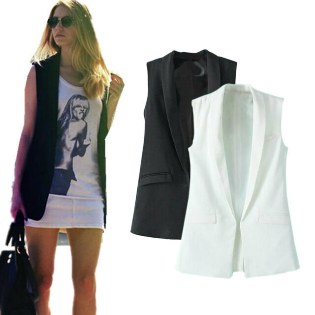 Fashion Slim Womens Sleeveless Vest Covered Button Vest Jacket Blazer Blouses
