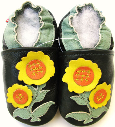 carozoo sunflower dark green 0-6m soft sole leather baby shoes