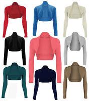 New Womens Long Sleeve Top Cropped Plain Bolero Cardigan Ladies Shrug Sizes 8-14