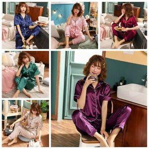 46dd4d430 Image is loading Ladies-Satin-Pyjamas-Sets-Summer-Womens-PJs-Shirt-