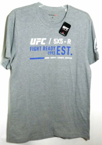 UFC Reebok RBK MMA Gray Heather Blend Work Out Fight Ready Top T