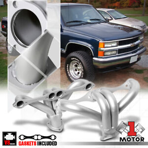 Silver-Coated-SS-Exhaust-Header-Manifold-for-Chevy-GMC-Small-Block-Hugger-SBC-V8