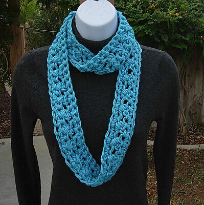 SUMMER SCARF Infinity Loop Solid Turquoise Blue Small Skinny Crochet Knit Cowl