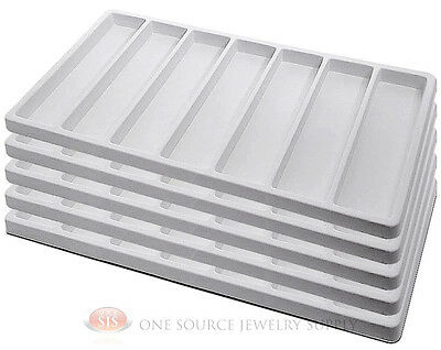 5 White Insert Tray Liners With 7 Slot Each Drawer Organize Jewelry Displays