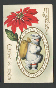 Christmas Postcard Boy Santa Claus Blue Jacket Fur Trimmed Coat & Hat