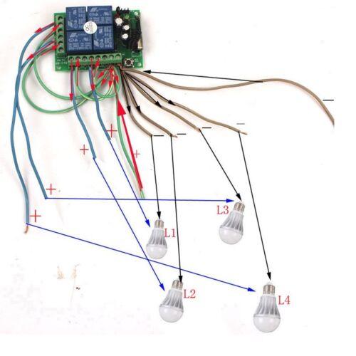 récepteur 24 V 4 CH Channel relais Télécommande sans fil Commutateur Intelligent émetteur