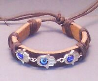 Hamsa Evil All-seeing Eye Bracelet Buddha Leather Cuff Silver Tone Black Gift