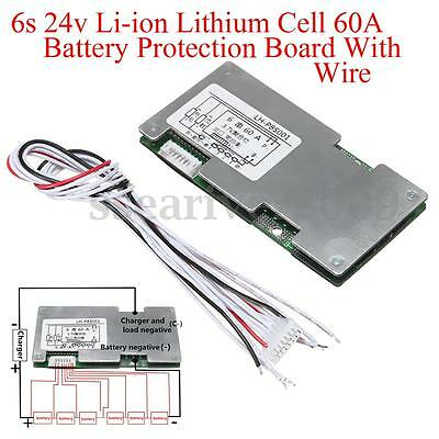 6s 24v Li-ion Lithium Cell 60A 18650 Battery Protection Board With Balance
