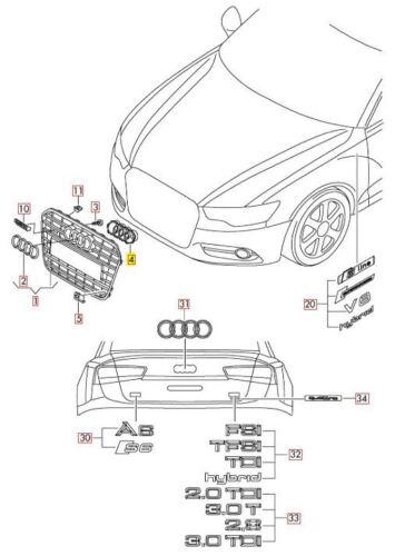 Noir 4G0853037A Neuf Original Audi A6 C7 avant Centre Grille Support Anneau