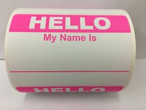 Details About 50 Labels 2 3 8x3 1 2 Pink Hello My Name Is Name Tag Identification Stickers