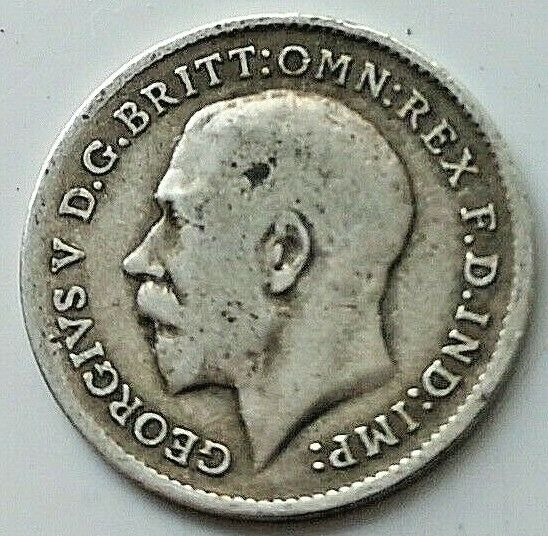 SOLID SILVER Three pence 1911 Coin Machu Picchu Discovered Vintage King George