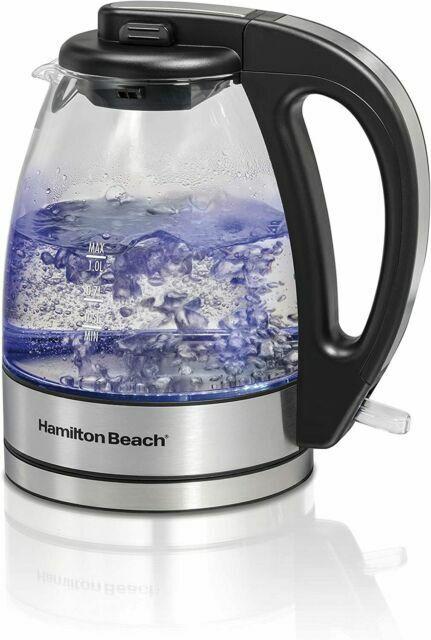 Hamilton Beach Compact Glass Kettle w/ Blue Illumination Lig