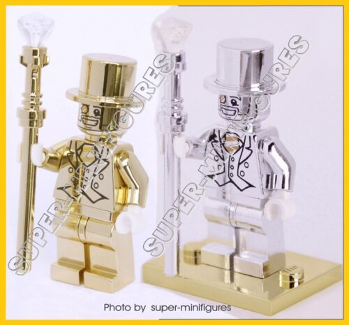 lego custom gold stand MR.GOLD and Mr.Silver set Minifigures series 10