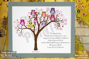 Nursery School Leaving Owl Poem Gift Personalised Owl Teacher Thank You Gifts