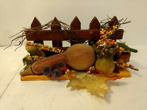 Autumn-Accents-8-034-Wooden-Fence-With-Squash-Fall-Halloween-Decoration-h172