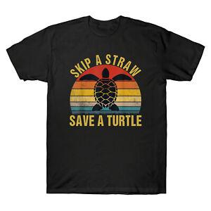 SAUTER-une-paille-enregistrer-une-tortue-vintage-homme-a-manches-courtes-T-Shirt-Retro-Coton-Tee