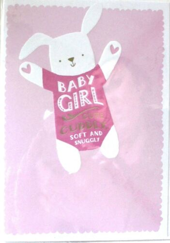 """doux /& Snuggly Mignon Lapin /""""Baby Girl/"""" Félicitations Carte ~ Mignon doux"""