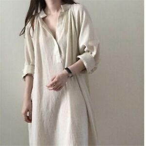 Cotton-Linen-Shirt-Dress-Long-Maxi-V-neck-Loose-Casual-Apricot-Summer-New-Beige