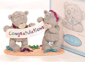 Me To You Tatty Teddy Bear Collectors Figurine - Congratulation<wbr/>s # 40098 rare