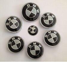 KIT 7 Badge Embleme LOGO BMW Carbone - Capot82+Coffre82+ Volant + 4 Cache Jante