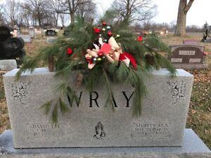 Real-Live-Pine-Memorial-38-034-L-Tombstone-Saddle-Graveside-Burial-Custom-Decor