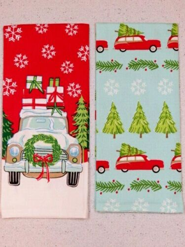 """Kitchen Hand Towels /""""Home for Christmas/"""" Linen Dish Towels 26/"""" X 17/' Set of Two"""