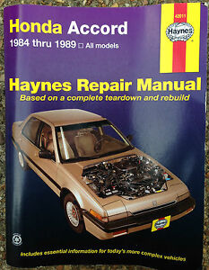 1984 1985 1986 1987 1988 1989 honda accord repair manual by haynes rh ebay co uk 2009 Honda Accord 1989 Honda Accord Manual