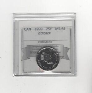 1999-October-Coin-Mart-Graded-Canadian-Twenty-Five-Cent-MS-64