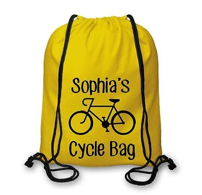 Personalised Cotton Named Cycle Bag, Cycling Drawstring Bags Biking, Bmx Csb107 Modernes Design