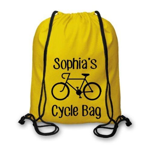 Cycling Drawstring Bags Biking Personalised Cotton Named Cycle Bag BMX CSB107