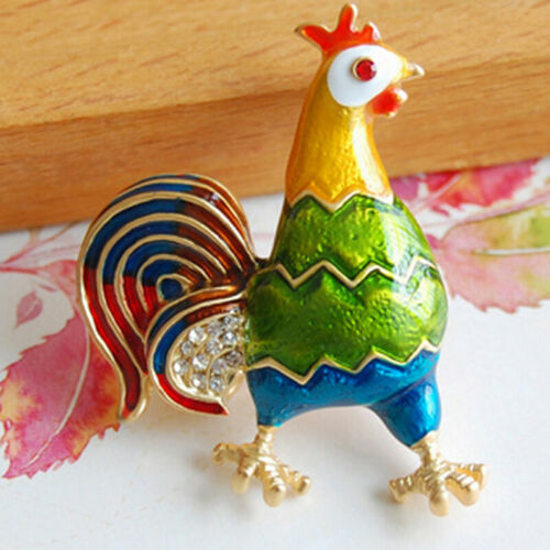 Chicken Rooster Hen Farm Animal Color Stone Crystal Brooch Pin Silver Tone S