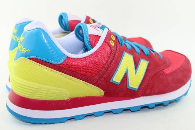 New Balance WL574BFW Größe 7.0 Pink Yellow, Blau, Weiß, Weiß, Blau, ROT NEW RARE Running 519594