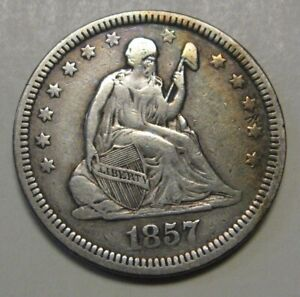 1857-Silver-Seated-Liberty-Quarter-Grading-XF-Nice-Original-Uncleaned-Coin-b46