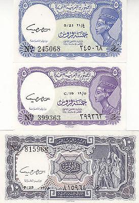EGYPT 5 10 PIASTERS 1961 P-180e 181e SIG//hegazy LOT X5 UNC SETS cv=$100.00 *//*