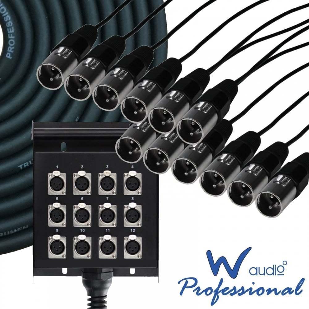 UKDJ 10 Metre 12 Way Metal XLR Multicore Stage Box Snake Wall Mountable XLR 10m