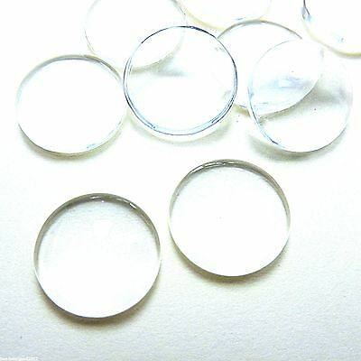 10 CLEAR GLASS ROUND DOMED CAMEO CABOCHON 20mm DIY Pendant Crafts