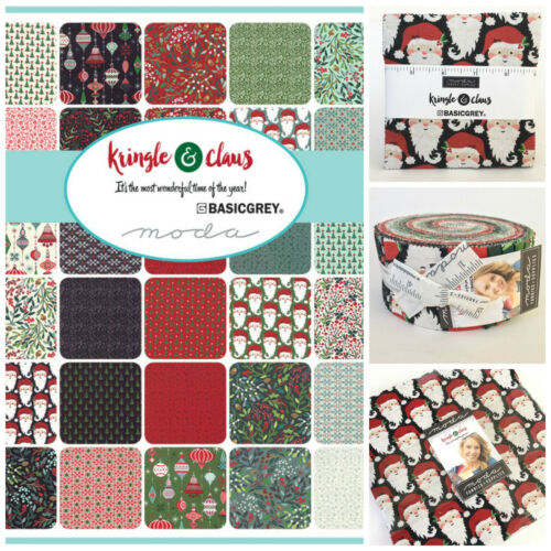 charm pack jelly roll layer cake for patchwork MODA Kringle /& Claus 100/% cotton