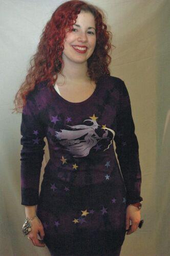 witch broomstick print t shirt dress  tie dye scoop neck long sleeve halloween