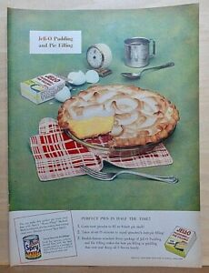 1953 magazine ad for Jell-O Pudding - Perfect Pies in half the time, Lemon pie
