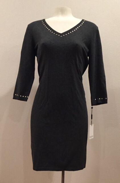 05dd723c624 Calvin Klein - Charcoal V Neck Gold Stud Trim 3 4 Sleeve Sweater Dress -