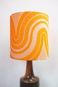 Original-60s-70s-Fabric-Lampshade-Retro-25cm-Drum-Orange-White
