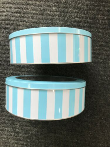 """Details about  / 8/"""" Round Blue  Holiday  Metal Cookie Tin See Through Lid"""