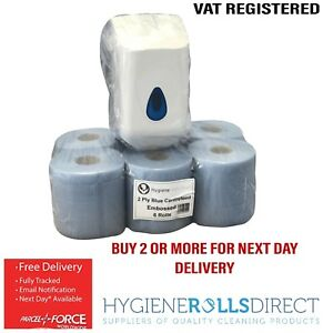 6-x-ACT-Blue-Centrefeed-Embossed-2ply-Paper-Towel-amp-Small-Centrefeed-dispenser