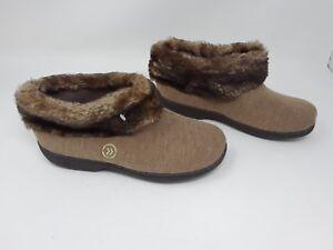 89dbe92efaa0de Image is loading New-Women-s-Isotoner-Microsuede-Tan-Bootie-Slippers-